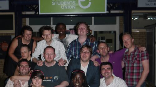Ex-Sabbatical Officers say goodbye to the old SU Building on Canterbury Campus before it is reopened at St George's.