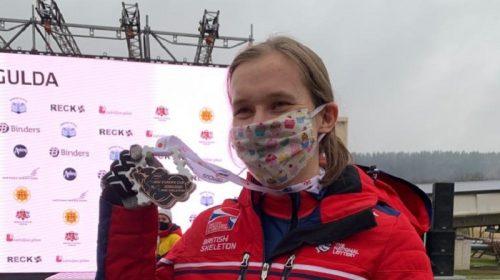 Rachel Hanagan at her medal presentation
