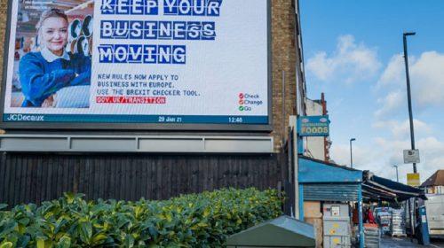 Billboard in the street promoting business flexibility