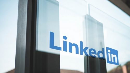 Linkedin logo on a window